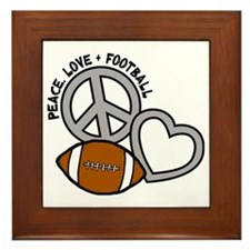 silver black Love, Football Framed Tile