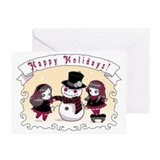 Chibi Gothic Snowman Greeting Card