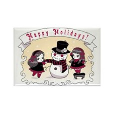 Chibi Gothic Snowman Rectangle Magnet