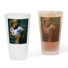 teddy bear tennis player Drinking Glass