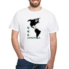 americas 2 ONE AMERICA wht bck verde letter T-Shir