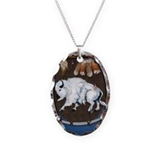 White Buffalo Shield -blue P Necklace