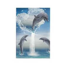 dolphins_greeting_card_192_V_F Rectangle Magnet
