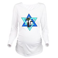 Jewish Cat Stars Long Sleeve Maternity T-Shirt