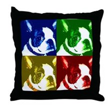 Pop Art Boston Terrier Throw Pillow