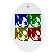 Pop Art Boston Terrier Oval Ornament