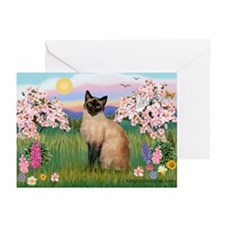Blossoms & Siamese (#1) Greeting Cards (Package of