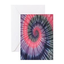 Pink  Purple Spiral Tie Dye Greeting Card