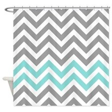 Aqua Gray Chevron Shower Curtains Aqua Gray Chevron Fabric Shower Curtain L
