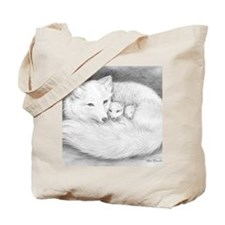 Hor-8x10-sign-Arctic Fox Family  Tote Bag