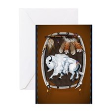 OvalJewel  White Buffalo Shield brow Greeting Card