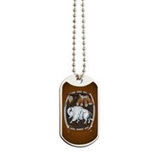 OvalJewel  White Buffalo Shield brown Dog Tags