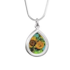 Pillow VG 3 Sunflowers Silver Teardrop Necklace