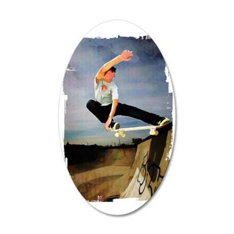 Skateboarding the Wall Edges 35x21 Oval Wall Decal