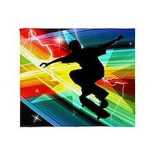 Skateboarder in Criss Cross Lightnin Throw Blanket