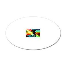 Skateboarder in Criss Cross  20x12 Oval Wall Decal