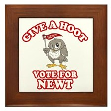 Give-a-Hoot-Newt-Bigger Framed Tile