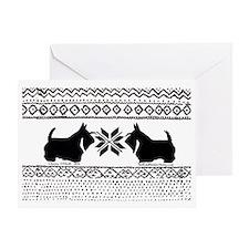 Scottish Terrier Reindeer Sweater Greeting Card