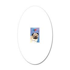 pug-key1 20x12 Oval Wall Decal
