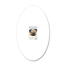 pug-key2 back 20x12 Oval Wall Decal