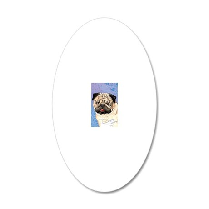 pug-key1 back 20x12 Oval Wall Decal