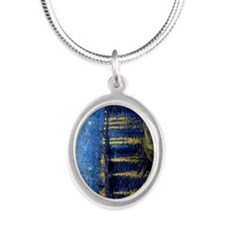 Starry Night Over the Rhone Silver Oval Necklace