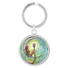 mermaid moon 9 x 12 cp Round Keychain