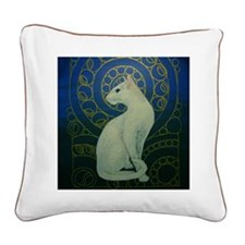 white cat square Square Canvas Pillow