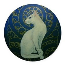 white cat square Round Car Magnet