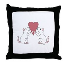 Valentines Rats Throw Pillow