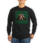 Brindle English Bulldog Long Sleeve Dark T-Shirt