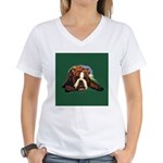 Brindle English Bulldog Women's V-Neck T-Shirt