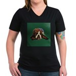 Brindle English Bulldog Women's V-Neck Dark T-Shir