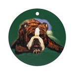 Brindle English Bulldog Ornament (Round)