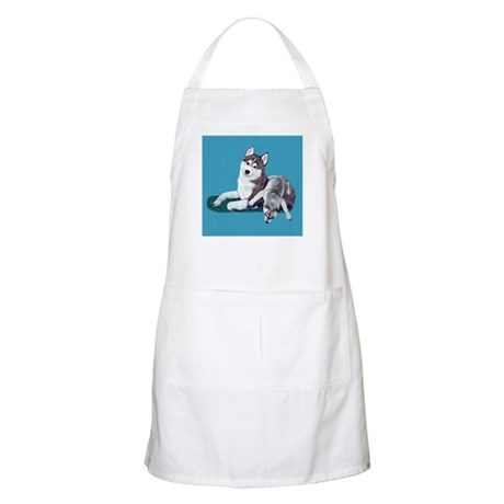 Siberian Husky and Puppy BBQ Apron