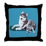 Siberian Husky and Puppy Throw Pillow