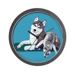 Siberian Husky and Puppy Wall Clock