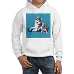 Siberian Husky and Puppy Hooded Sweatshirt