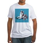 Siberian Husky and Puppy Fitted T-Shirt