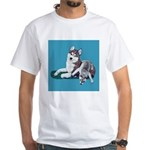 Siberian Husky and Puppy White T-Shirt