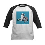 Siberian Husky and Puppy Kids Baseball Jersey