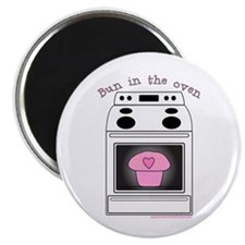 """Bun in the oven"" Pink 2.25"" Magnet (100 pack)"