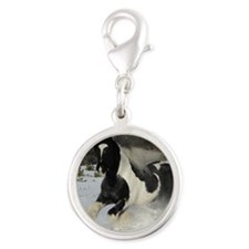 Mickey Snow  Rectangle Silver Round Charm