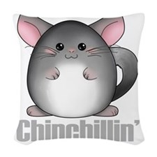 chinchillin2 Woven Throw Pillow
