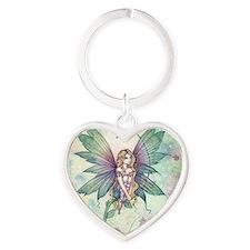 mystic garden square Heart Keychain