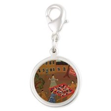 Quilting Bee Silver Round Charm