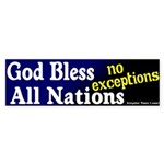 God Bless All Nations Bumper Sticker