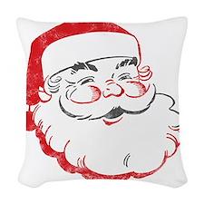 Smiling Santa Face Woven Throw Pillow
