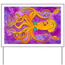 Squid - purple cropped Yard Sign
