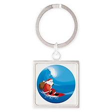 Santa Surf Square Keychain